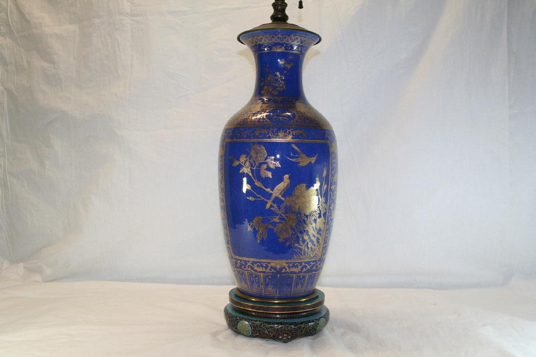 Chinese Powder Blue and Gilt Vase Converted to Lamp