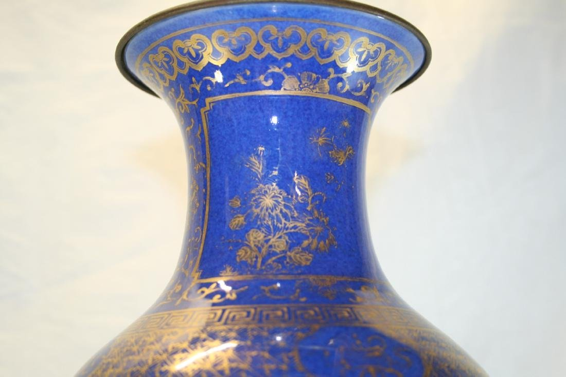 Chinese Powder Blue and Gilt Vase Converted to Lamp - 2