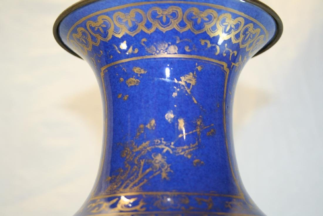 Chinese Powder Blue and Gilt Vase Converted to Lamp - 3