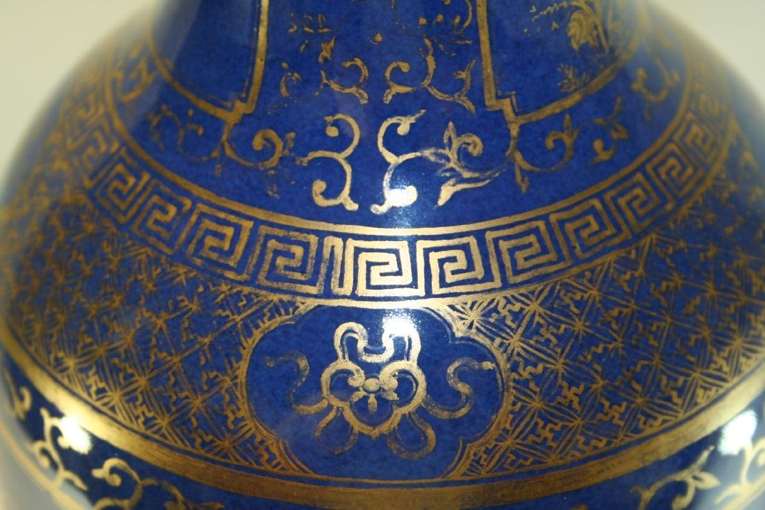 Chinese Powder Blue and Gilt Vase Converted to Lamp - 4