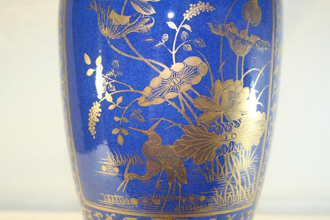 Chinese Powder Blue and Gilt Vase Converted to Lamp - 7