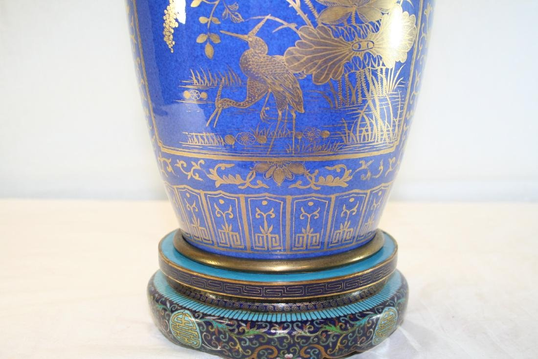 Chinese Powder Blue and Gilt Vase Converted to Lamp - 8