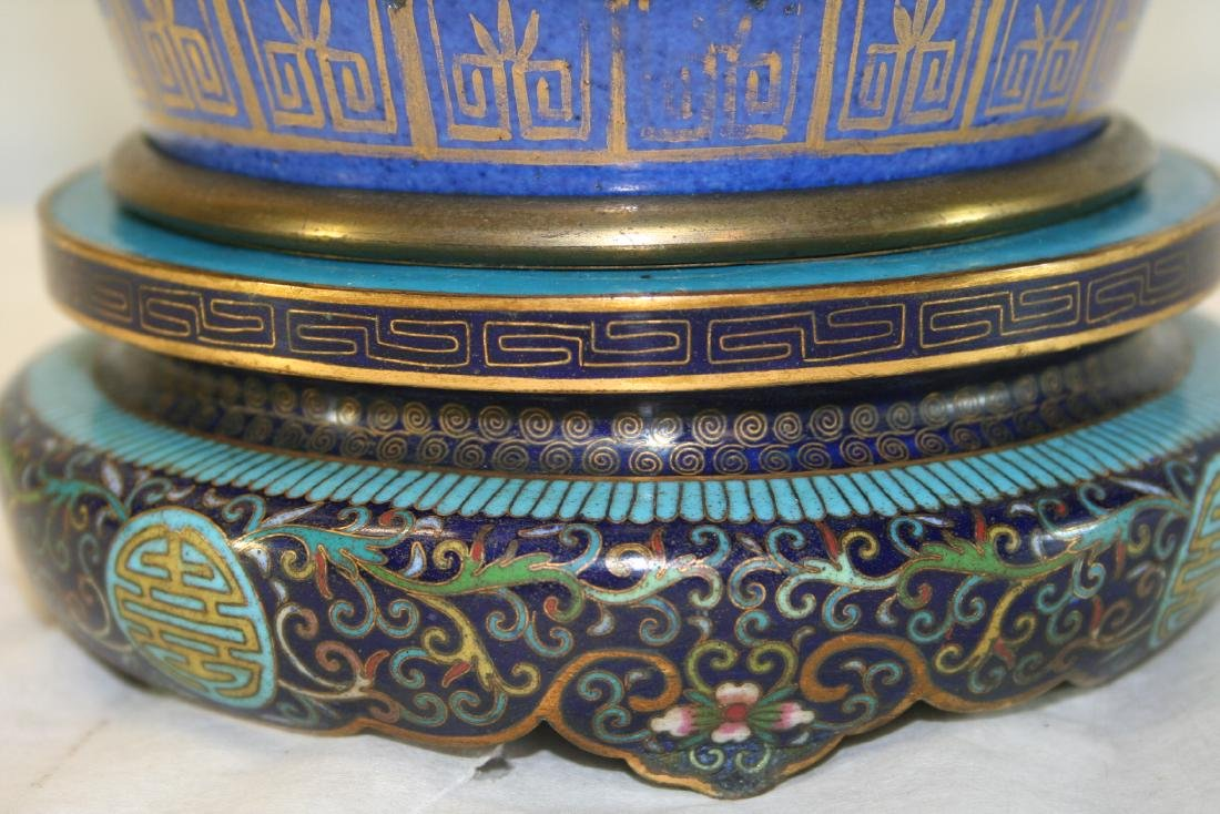 Chinese Powder Blue and Gilt Vase Converted to Lamp - 9