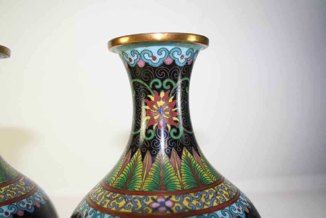 Pair of Chinese Cloisonne Vases - 5
