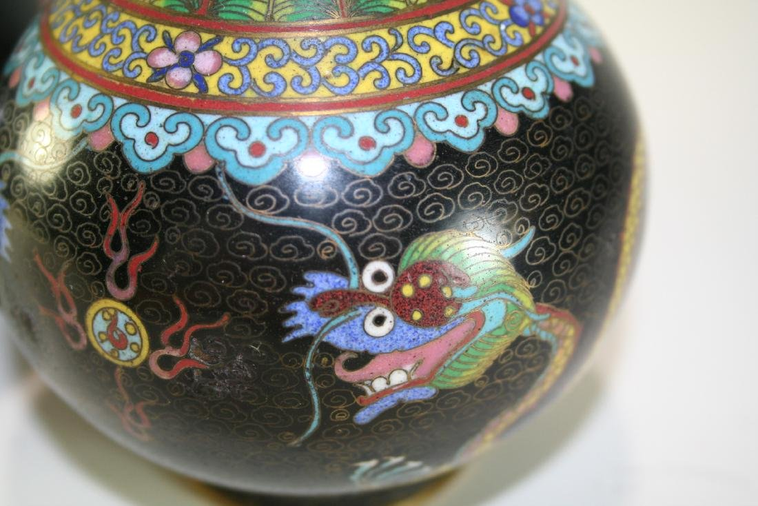 Pair of Chinese Cloisonne Vases - 6