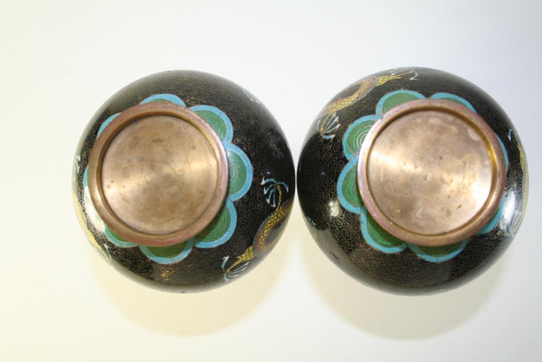 Pair of Chinese Cloisonne Vases - 9