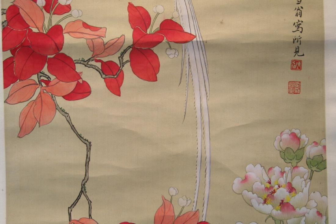Chinese Hanging Scroll Water Color on Paper Painting - 4