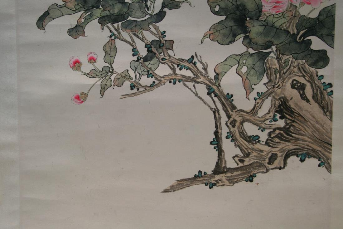 Chinese Hanging Scroll Water Color on Paper Painting - 7