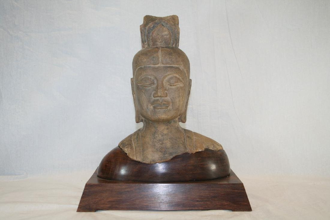 Chinese Stone Buddha Head with Wood Base