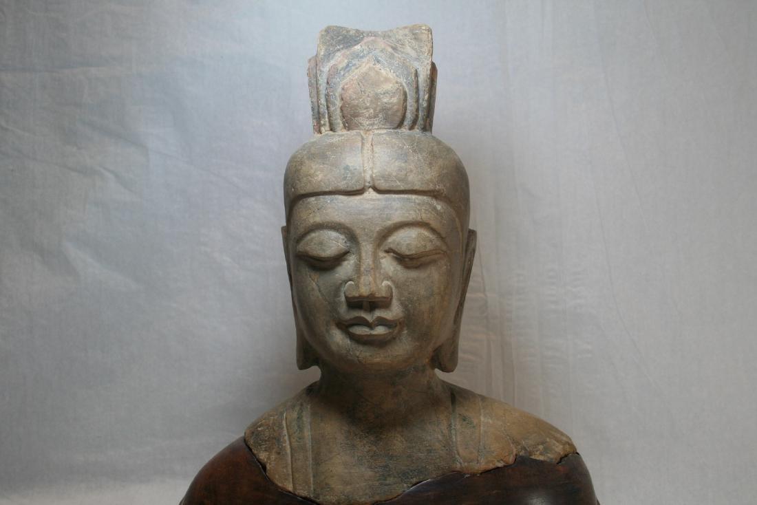 Chinese Stone Buddha Head with Wood Base - 2