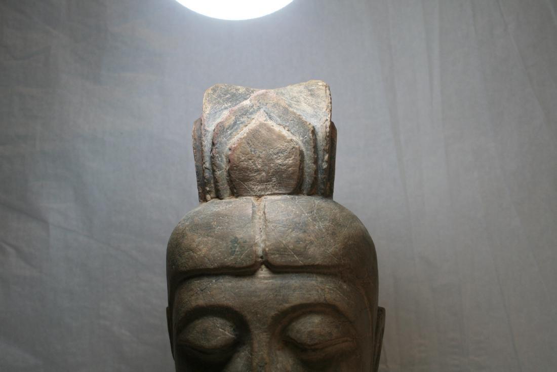 Chinese Stone Buddha Head with Wood Base - 3