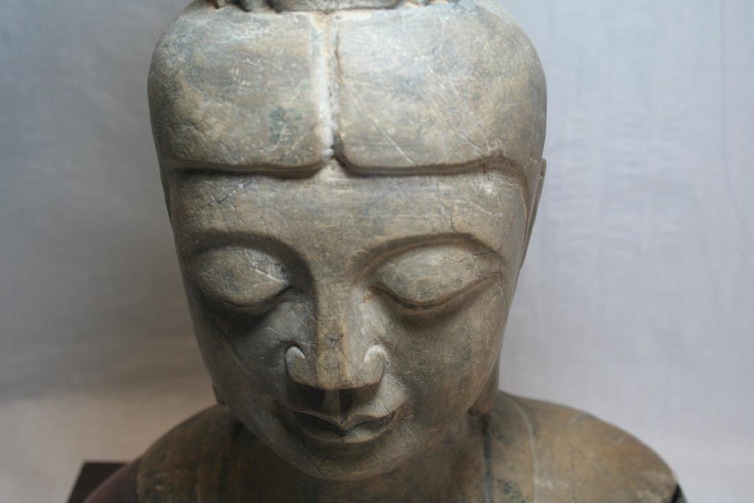Chinese Stone Buddha Head with Wood Base - 4