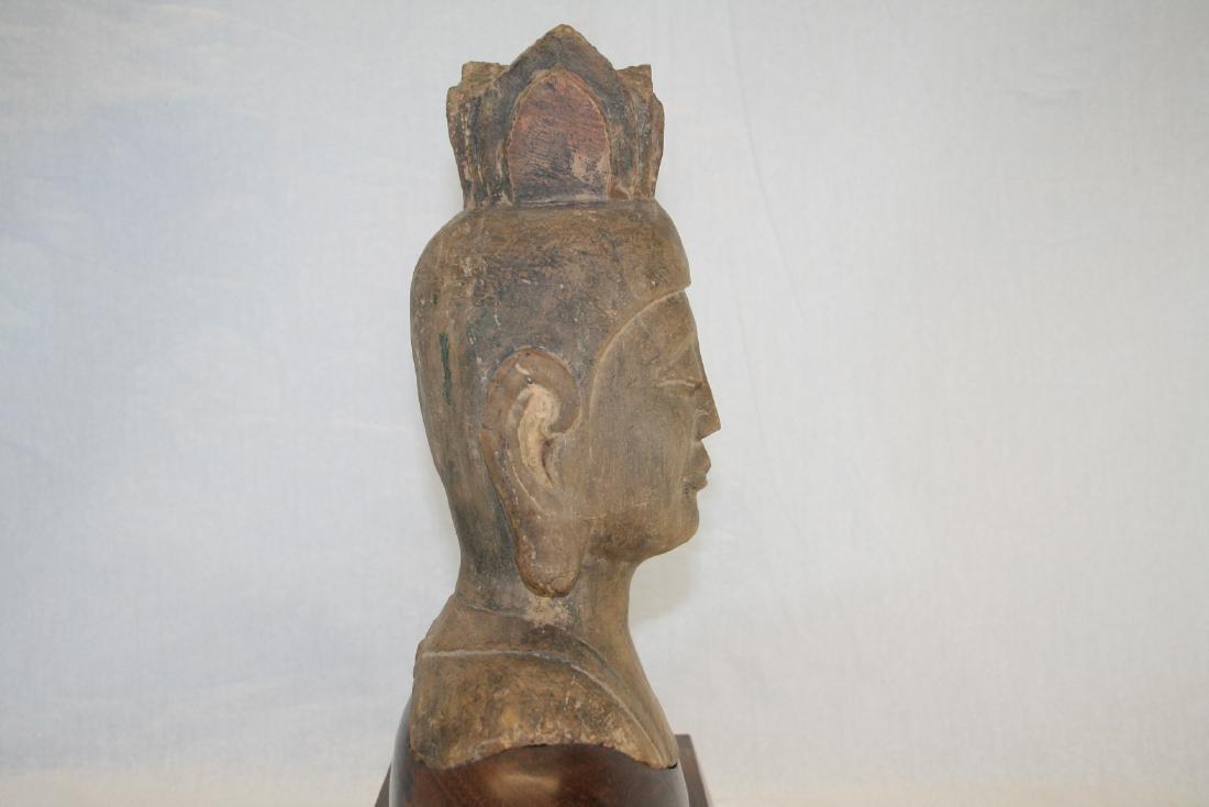 Chinese Stone Buddha Head with Wood Base - 5