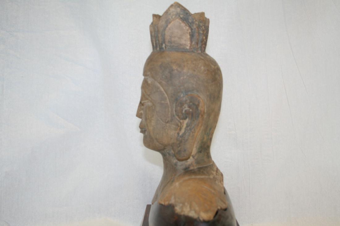 Chinese Stone Buddha Head with Wood Base - 6