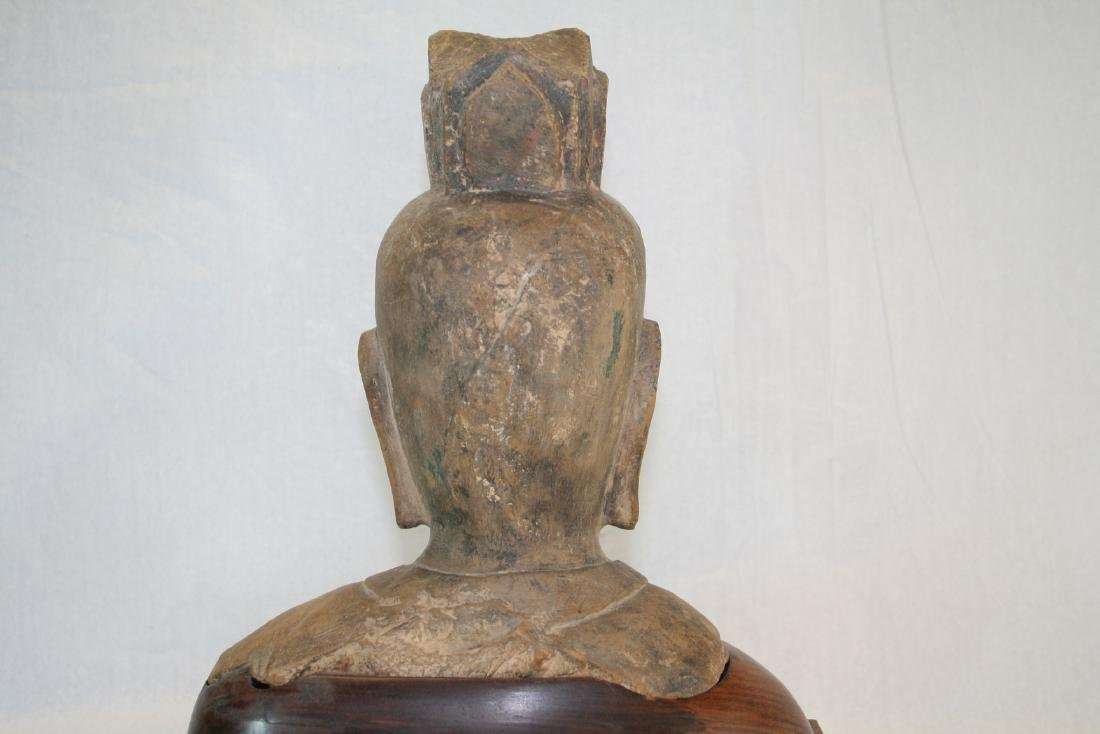 Chinese Stone Buddha Head with Wood Base - 7