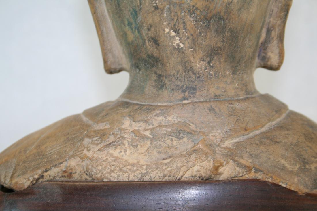 Chinese Stone Buddha Head with Wood Base - 8