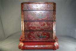 Chinese Red Lacquer Layered Box
