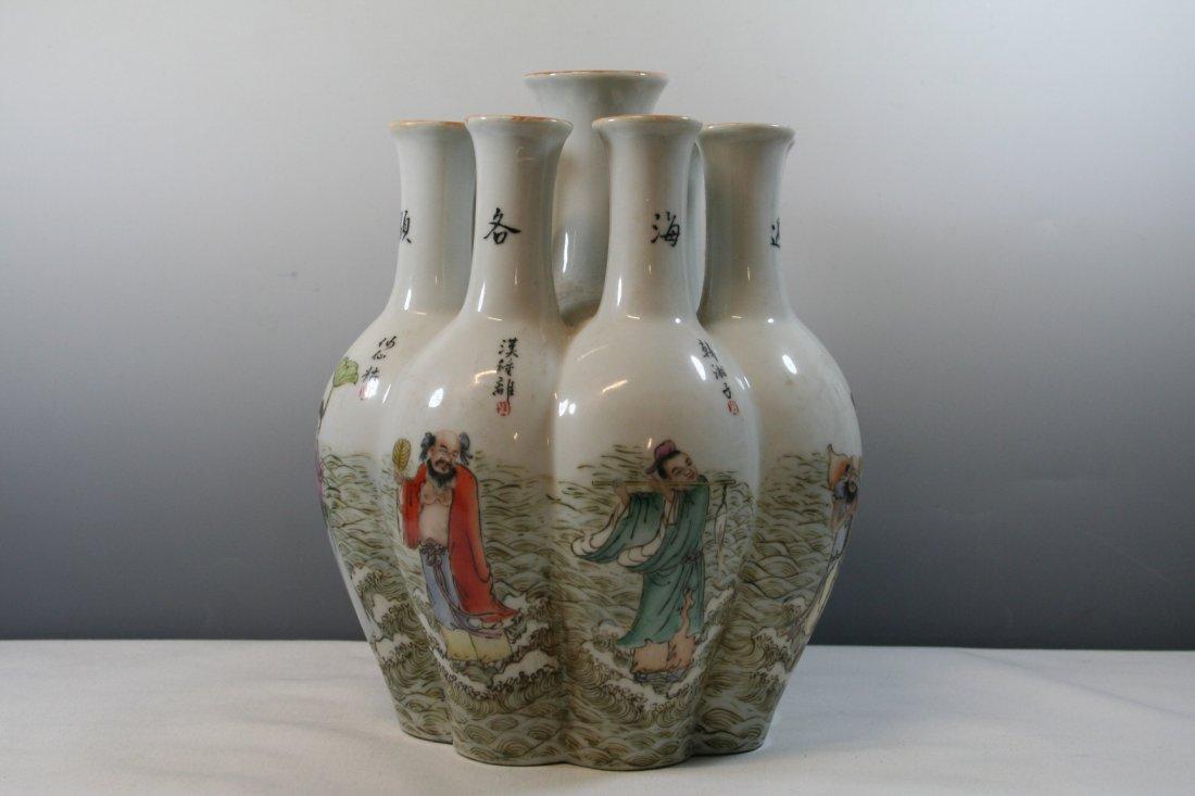 Chinese Porcelain Nine Tubular Vase - 3