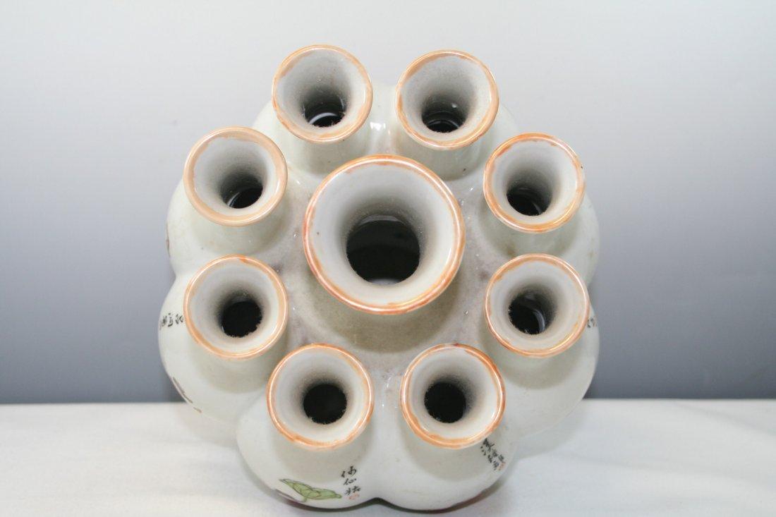 Chinese Porcelain Nine Tubular Vase - 7