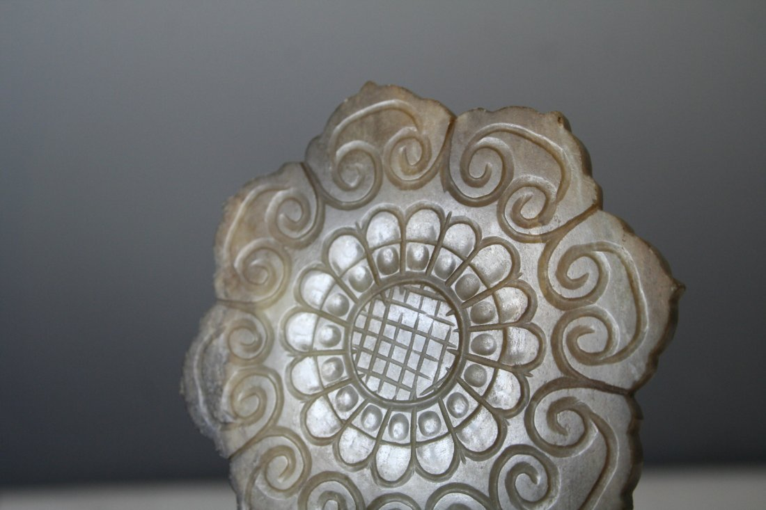 Chinese Jade Flower Disc - 3
