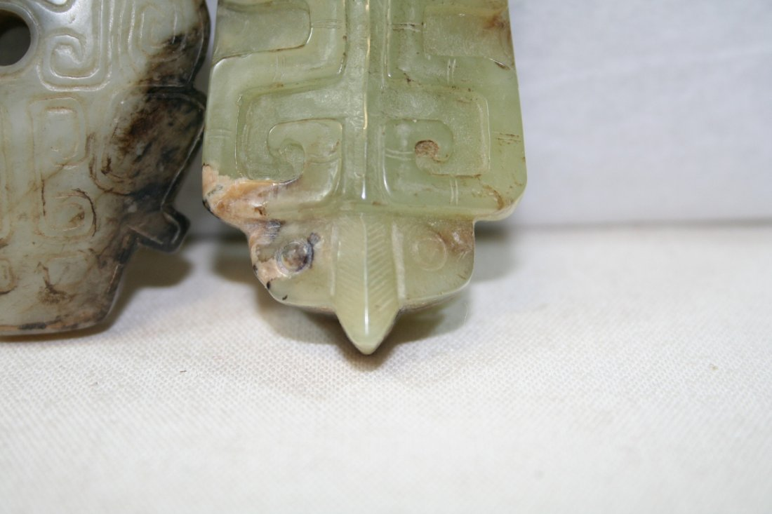 Group of Two Chinese Jade Carved Items - 4