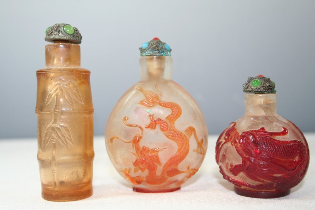 Group of Three Chinese Glass Snuff Bottles