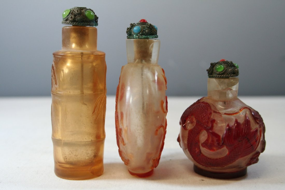 Group of Three Chinese Glass Snuff Bottles - 7
