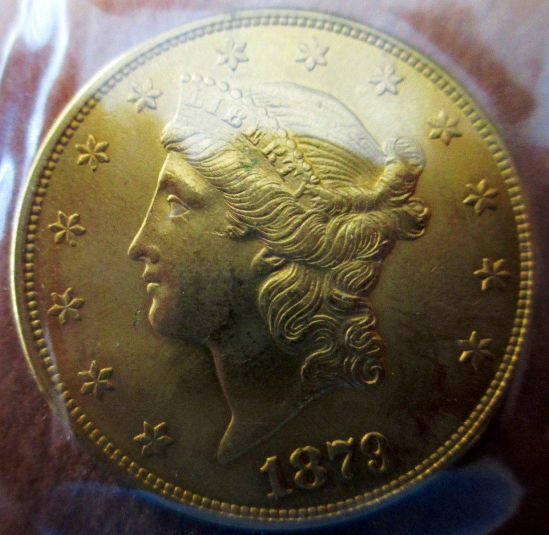1879 S DOUBLE EAGLE  TWENTY DOLLAR GOLD COIN B.U.