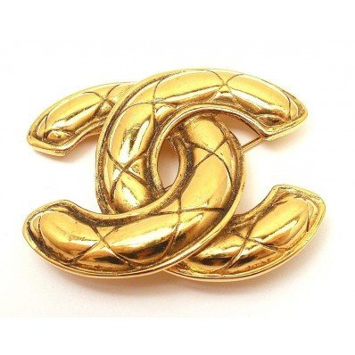 CHANEL VINTAGE COUTURE QUILTED LOGO PIN BROOCH