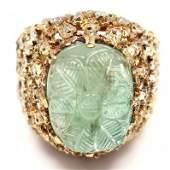 MARIO BUCCELLATI 18K YG  DIAMOND CARVED EMERALD RING