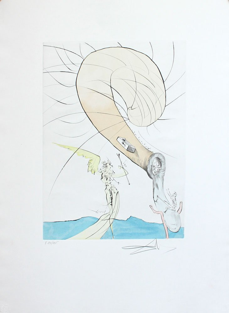 "SALVADOR DALI SPANISH ""FREUD WITH SNAIL HEAD""  ETCHING"