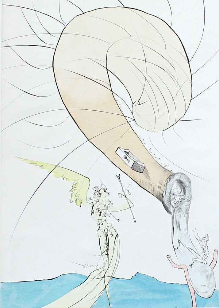 "SALVADOR DALI SPANISH ""FREUD WITH SNAIL HEAD""  ETCHING - 2"