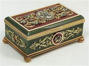 RARE FABERGE RUSSIAN NEPHRITE 14K ENAMELED DIAMOND BOX
