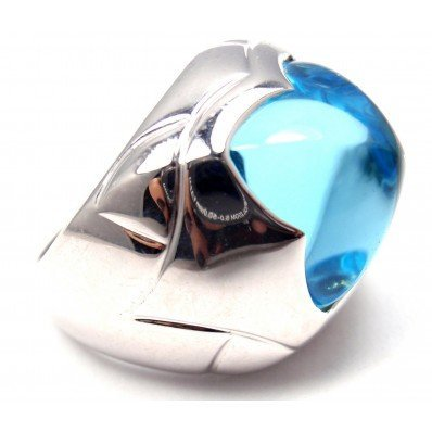 BULGARI PYRAMID 18K WHITE GOLD BLUE TOPAZ RING