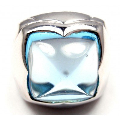 BULGARI PYRAMID 18K WHITE GOLD BLUE TOPAZ RING - 6