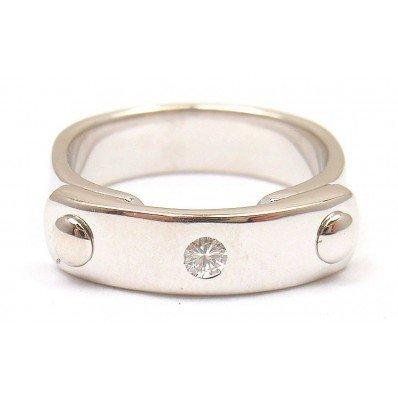 HERMES 18K WHITE GOLD DIAMOND CLASSIC MODERN BAND RING