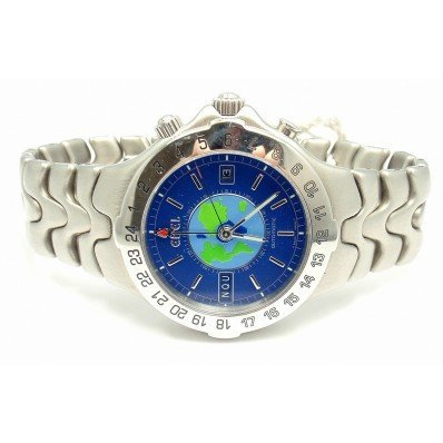 EBEL STAINLESS  BLUE DIAL SPORTWAVE WORLD TIME WATCH