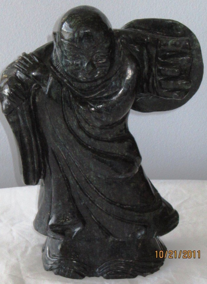 CHINESE DARK GREEN NEPHRITE CARVED BUDDHA STATUE