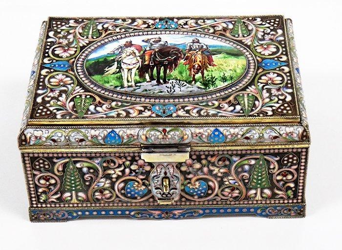 LARGE RUSSIAN SILVER GILT & PICTORIAL ENAMEL BOX