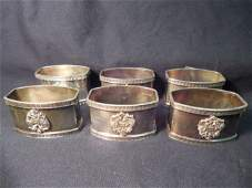 STAMPED FABERGE STERLING SILVER SET 6 NAPKIN RINGS