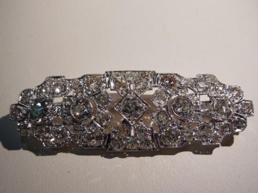 ANTIQUE FABULOUS DIAMOND PLATINUM PIN 6.79 CTS