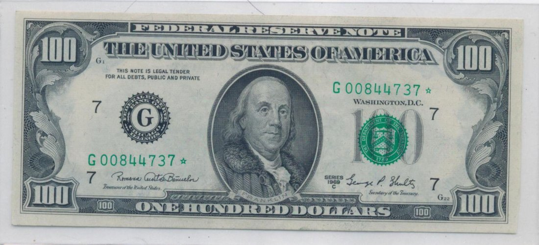 $100 DOLLAR STAR NOTE SERIES 1969 C BANK OF CHICAGO