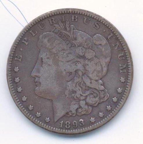 RARE DATE 1893 P MORGAN SILVER DOLLAR GRADE F DETAILS