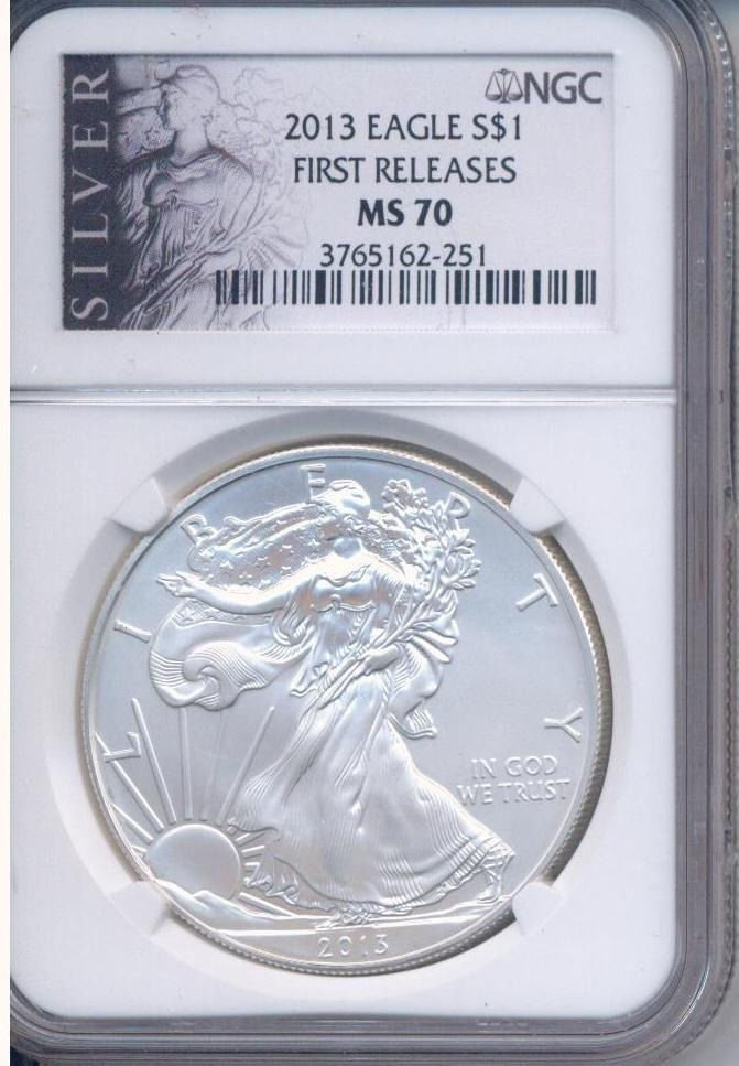 2013 SILVER EAGLE DOLLAR FIRST RELEASES MS 70 NGC