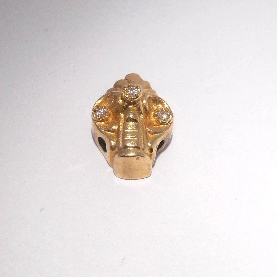 VINTAGE 14K GOLD SLIDER CHARM W 3 DIAMONDS