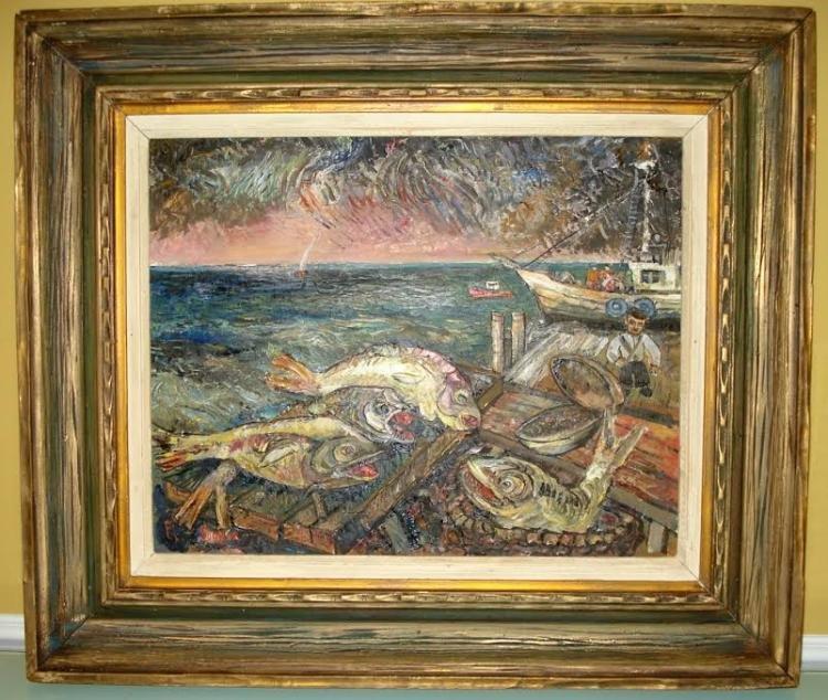 DAVID BURLIUK RUSSIAN -AMERICAN OIL ON CANVAS