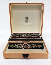 RARE FABERGE GOLD ENAMEL DIAMOND NEPHRITE BOX