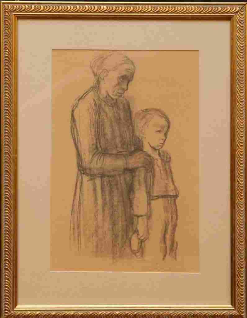 KATHE KOLLWITZ CHARCOAL ON PAPER WOMAN AND CHILD