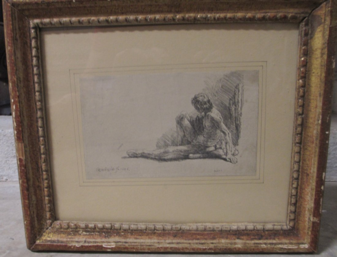 """REMBRANDT  """"MAN SEATED ON GROUND WITH LEG EXTENDED"""""""