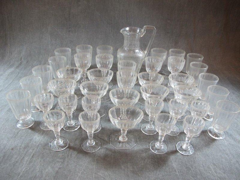Antique European 41 pcs glass set